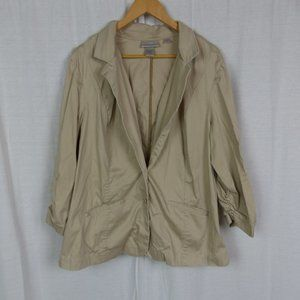 Avenue Button Up Blazer Jacket Ruched Sleeves